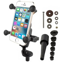 RAM Fork Stem Mount with Short Double Socket Arm & Universal X-Grip Cell/iPhone Cradle