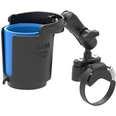 Ram Handlebar Rail Mount With U-Bolt Base Level Cup Drink Holder and Koozie