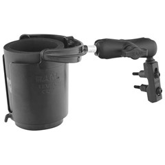 RAM Level Cup Drink Holder With Standard Double Socket Arm and Brake/Clutch Reservoir Base