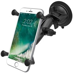 RAM Twist Lock Suction Cup Mount, Std. Double Socket Arm & 1in. Ball w/ X-Grip