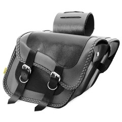 Gray Thunder Braided Compact Slant Saddlebag