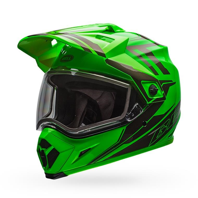 MX-9 Adventure Snow - Green/Titanium Dual Shield