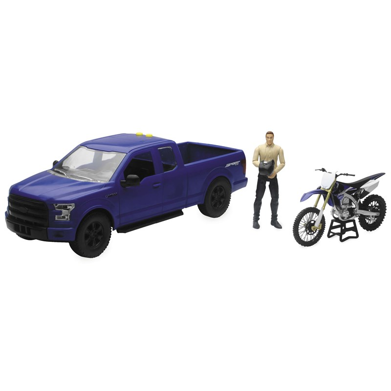 1:14 Scale Blue F-150 Truck with Yamaha YZ450F Motorcycle