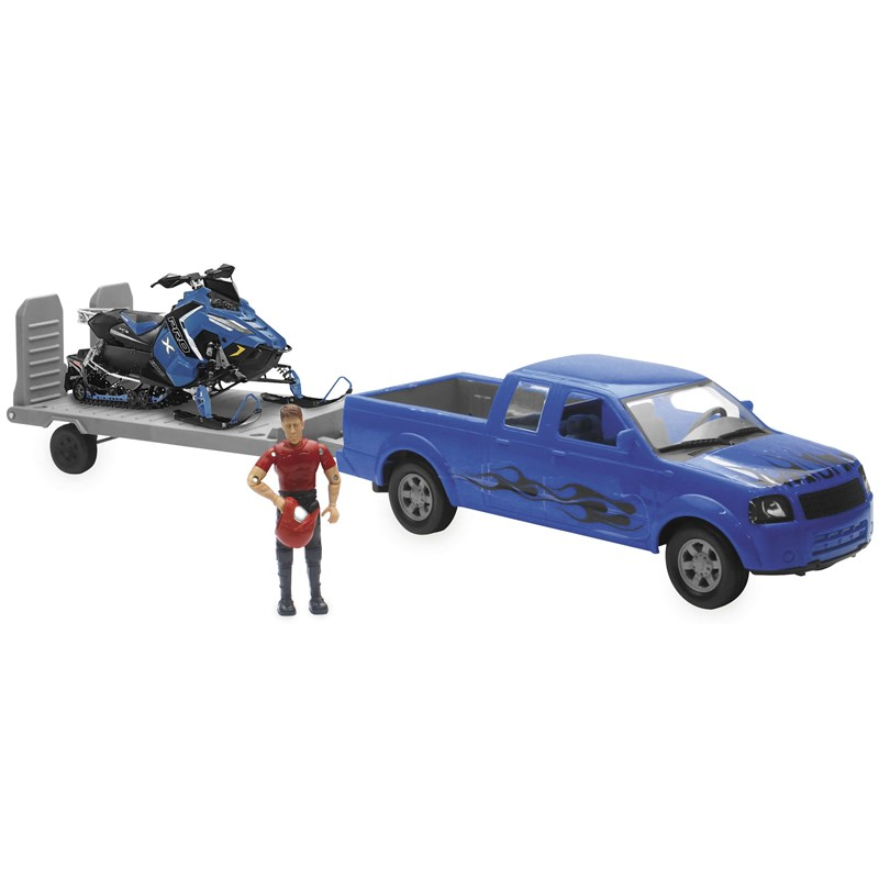 1:18 Scale Blue F-150 Truck with Trailer and Polaris Switchback Snowmobile