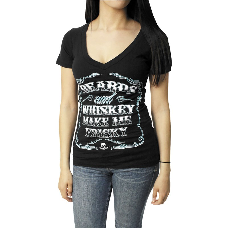 Beards And Whiskey Women's V-Neck Tee