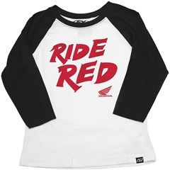Honda Ride Red Baseball Youth T-Shirts