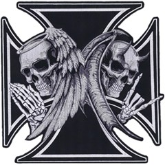 Angel Devil Iron Cross Embroidered Patch