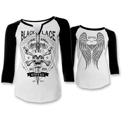 Black Lace Riders Womens Raglan Shirts