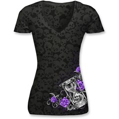Burnout Hourglass Skull Womens V-Neck T-Shirts