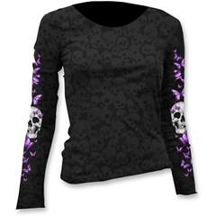 Butterfly Skull Burnout Scoop Neck Womens Long Slevee Shirts