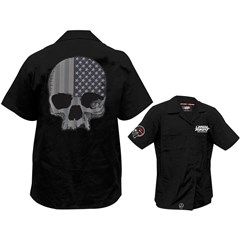 Gray USA Skull Embroidered Work Shirts