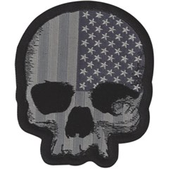 Gray USA Skull Mini Embroidered Patch