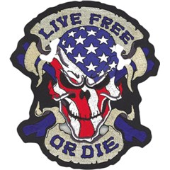 Live Free or Die USA Skull Embroidered Patch