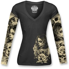 Love N Death Womens Tattoo Long Sleeve Shirts
