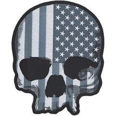 USA Flag Skull Gray Embroidered Patch