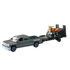 1:43 Scale Chevy Truck with Trailer and Dirt Bike
