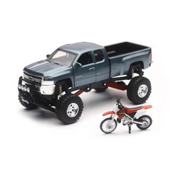1:43 Scale Gray Chevy Silverado 4x4 with Honda Dirt Bike