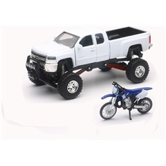 1:43 Scale White Chevy Silverado 4x4 with Yamaha Dirt Bike