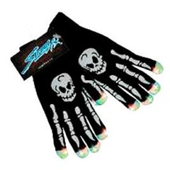 Light Up Skull Gloves with Display