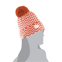 Peach Chevron w/Pom Beanie Peach