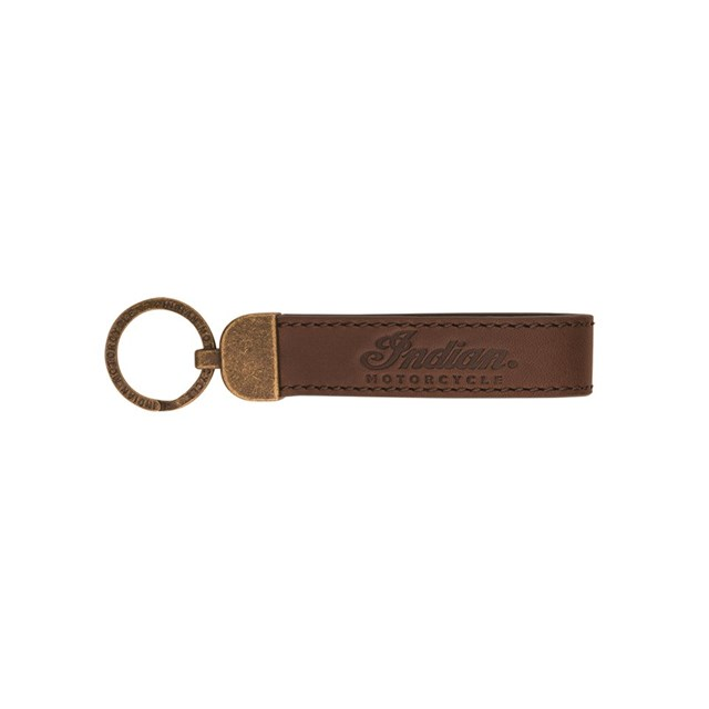 Indian Motorcycle® Script Leather Keyring - Brown