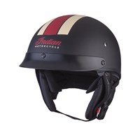 Half Helmet with Retro Racing Stripe, Black