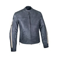 Men's Perforated Leather Route Riding Jacket with Removable Lining, Gray