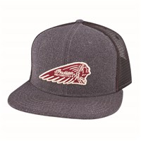 Flatbill Trucker Hat with Headdress Logo, Gray
