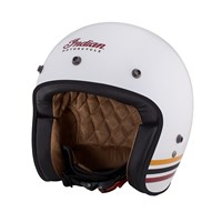 Open Face Retro Helmet with Stripes, White