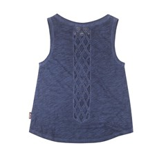 Women's Tank Top with Mesh Panels, Navy
