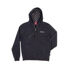 Men's Full-Zip Hoodie Sweatshirt with Checkers, Black/Gray