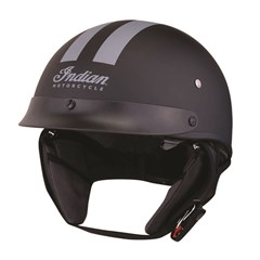 Half Helmet with Gray Stripe, Black
