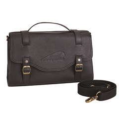 Women's Leather Cross-Body Messenger Bag, Black