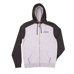 Men's Full-Zip Hoodie Sweatshirt with Icon Logo, Black/Gray