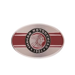 Belt Buckle with Icon Logo, Red/Silver