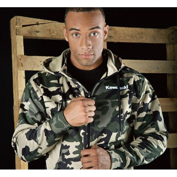 Army Camo Zip-Front Hooded Sweatshirt