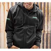 Kawasaki 3 Green Lines Technical Zip-Front Hooded Sweatshirt