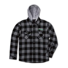 Kawasaki 3 Green Lines Hooded Flannel Lined Jacket