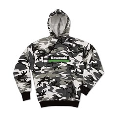 Kawasaki 3 Green Lines Snow Camo Hooded Sweatshirt