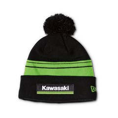 New Era Kawasaki 3 Green Lines Striped Pom Beanie