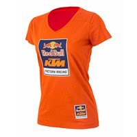 Red Bull KTM Racing Women's Logo V-Neck Tee Orange
