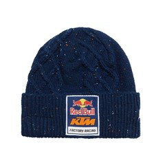 RB/KTM SPECKLED CABLE KNIT BEANIE NAVY
