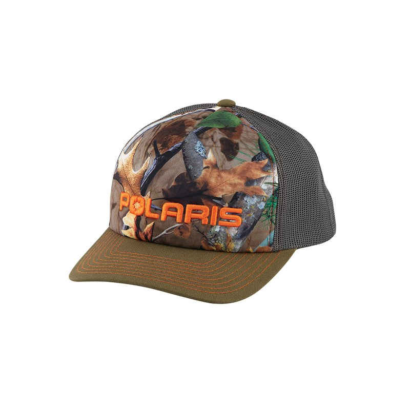 Men's Adjustable Mesh Snapback Hat with Orange Logo, Camo