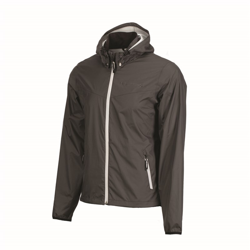 Unisex Full-Zip Packable Waterproof Jacket with Removable Hood, Gray