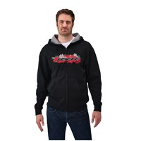Men's Full-Zip Hoodie Sweatshirt with RZR® Logo, Black/Red