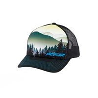 Men's Adjustable Mesh Snapback Hat with Mountain Scene and Blue RZR® Logo, Black