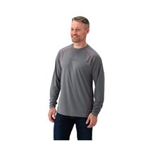 Men's Long-Sleeve Mesh Cooling Shirt with Slingshot® Logo, Gray/Red