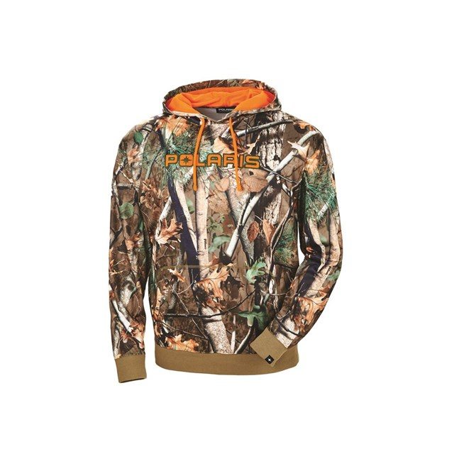 Men's Pursuit Camo Hoodie with Orange Logo