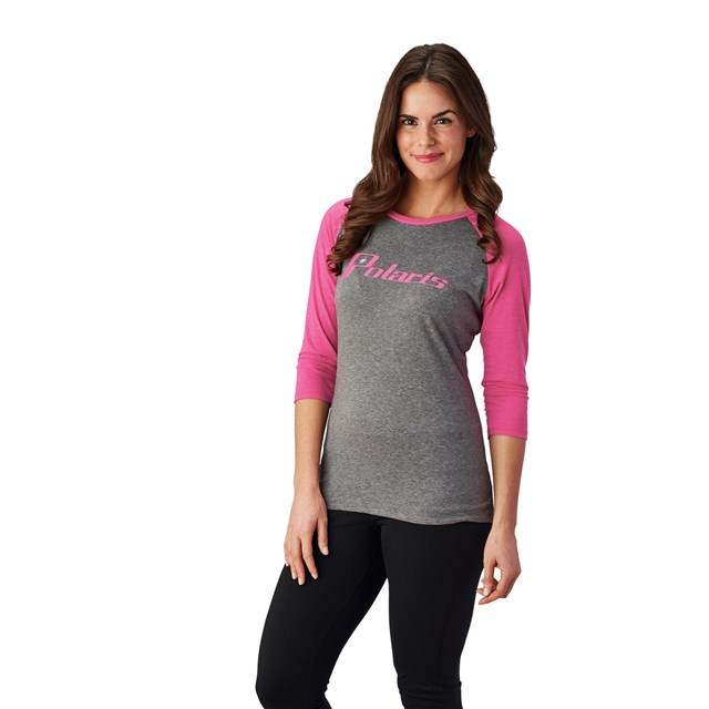 Women's Baseball 3/4 Sleeve Tee - Gray/Pink