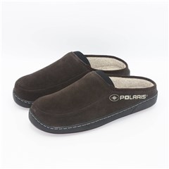 Men's Fleece Slippers with Polaris® Logo, Brown